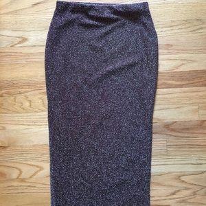 Topshop Burgundy, Shimmer Midi Skirt - Sz 6